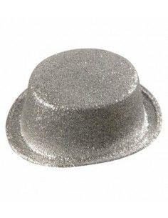 Sombrero Chistera plateada...